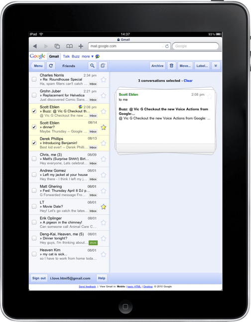 stacked card UI in gmail for iPad