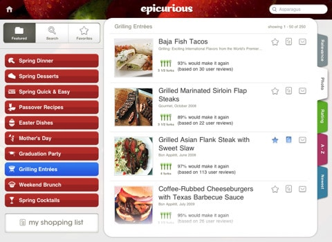 epicurious recipies and shopping list
