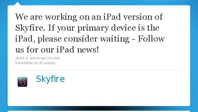 skyfire ipad app coming soon