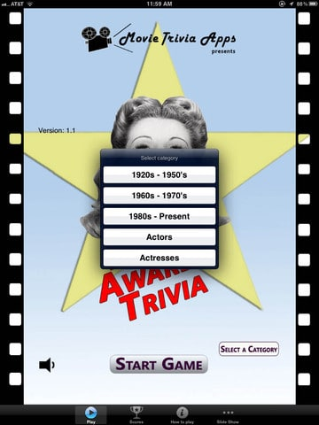 Movie Awards Trivia iPad App